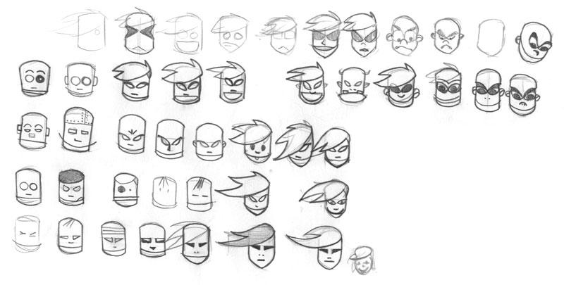Skizze verschiedene Gesichter