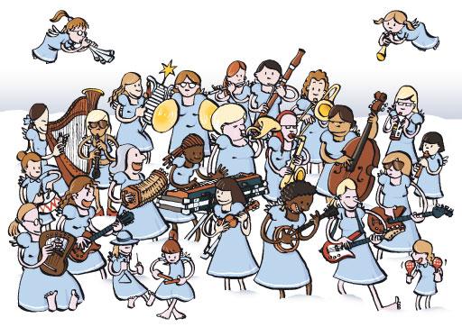 Weihnachtskarte Engelsorchester