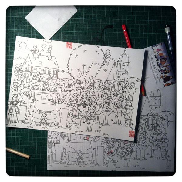 Reinzeichnung Illustration Wimmwelbild