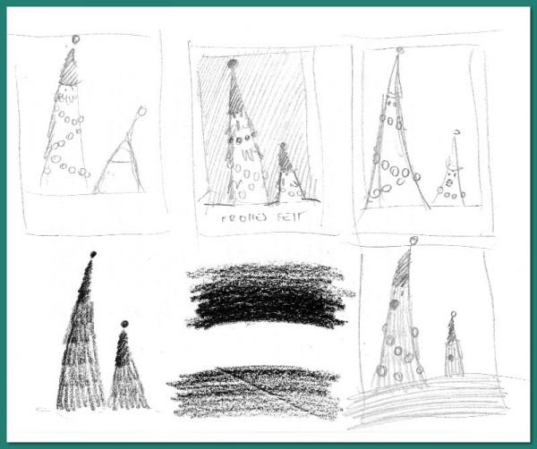 Ideenskizzen zur Weihnachtskarte 2015