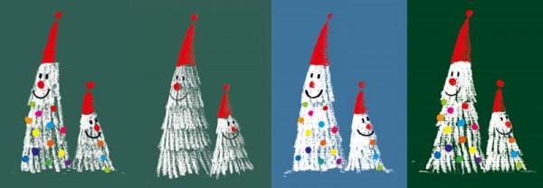Weihnachtskarte Weihnachtsbäume