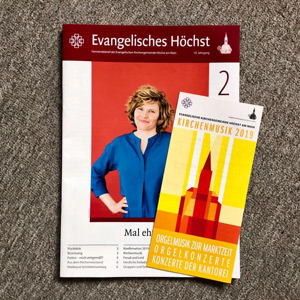 Gemeindebrief und Faltblatt Kirchenmusik